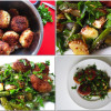 Kyllingedeller med stegte asparges og squash drysset med sesam